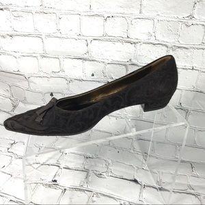 Prada embroided brown velvet toe pointed heels